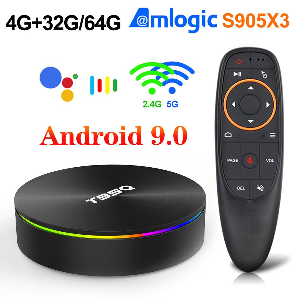T95Q Android 9.0 Smart TV Box Amlogic S905x3 Quad Core CPU 5G WiFi 4K H.265 4G 32G Set Top Box 4G64G Bluetooth Player multimediale colorato
