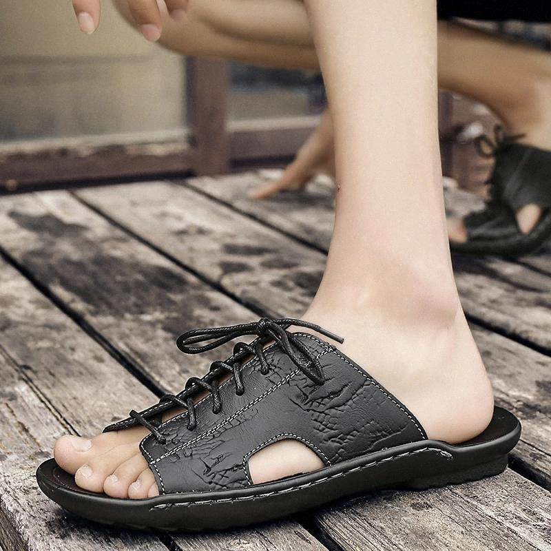 Chaussons décontractés Chaussures de luxe en cuir véritable Casual pour hommes Chaussures confortables Chaussures élégantes élégantes Chaussons de chaussures de plage mâles élégantes # QZ6W