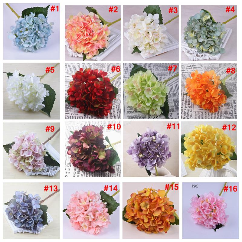 47 cm Artificiale Hydrangea Flower Head Fake Seta Single Real Touch Hydrangeas Simulazione di nozze Simulazione Home Party Decorative Flowers Edfg
