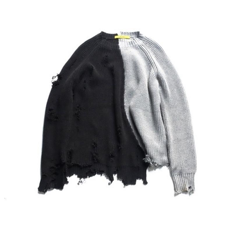 Новые негабаритные 2021 черные вязаные свитер отверстия осень зима женщина одежда 8YZF ISA3