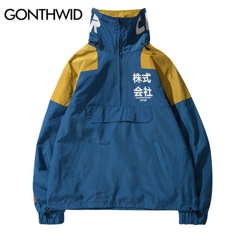 Gonthwid Back Bag Meia Rits Trui Windjack Trilha Jaquetas Homens 2020 Hipst Hip Hop Harajuku Jassen Streetwear Masculino