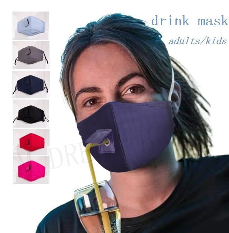 Yetişkinler Çocuklar Pamuk Yüz Maskesi Içme Maskesi Için Delik Için Saman Parti Maskesi için Kullanımlık Yıkanabilir Toz Geçirmez Maskeler Açık Ağız Maskeleri Kapak