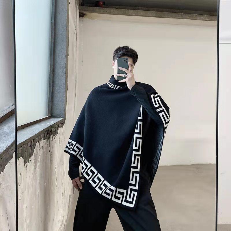 Новая мода свободная шаль осенью и зимний хип-хоп личности плащ улица плащ мужская кисточка ретро кардиган без рукавов вязаная турина Turtleneck J