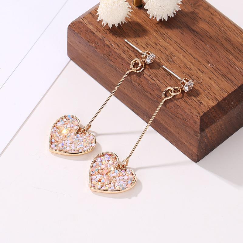 Zirkon Eardrop Sequins Aşk Şeftali Kalp Charm Kulak Çiviler Kadınlar Sevgililer Günü Metal Altın Kaplama Bildirimi Küpe 1 6SFF L2