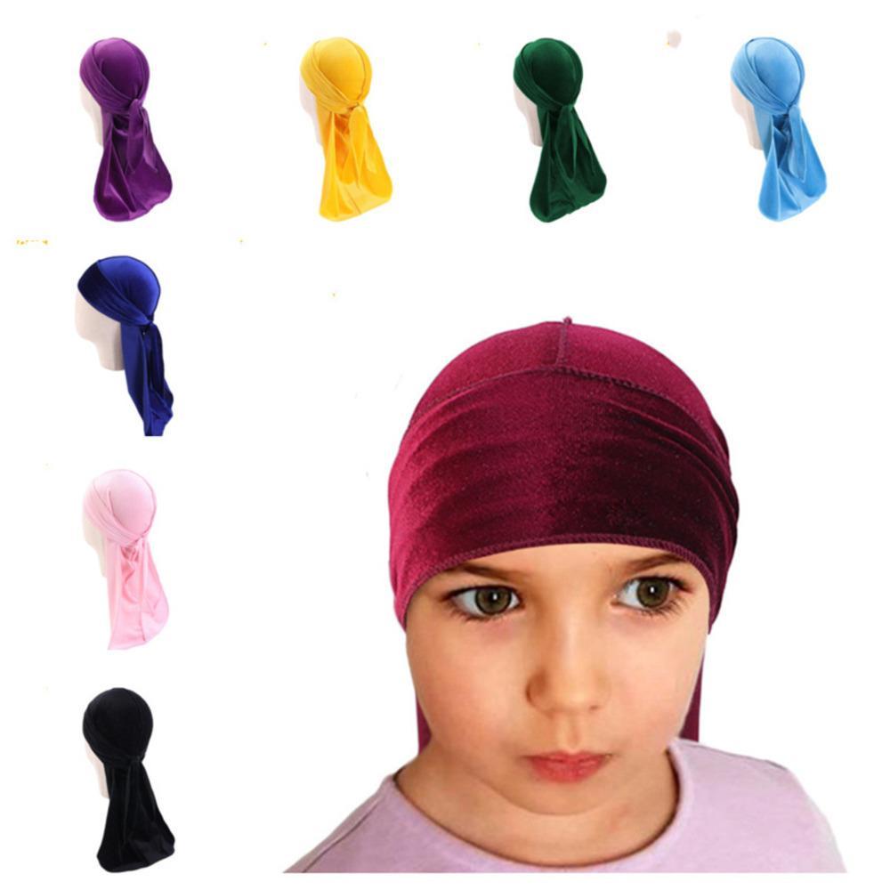 Erkek Kız Kadife Durag Uzun Kuyruk Kafa Sarar Çocuk Dorag Durags Türban Peruk Korsan Kapaklar Başörtüsü Hip Hop Şapkalar Saç Kapak Aksesuarları G12209