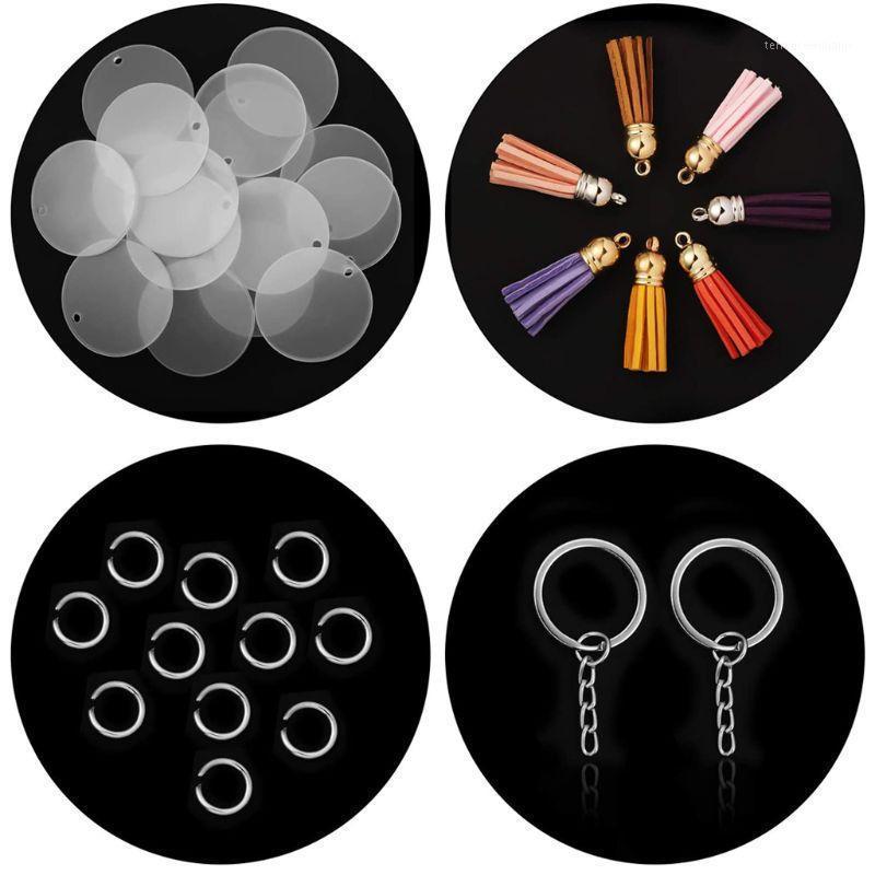 20 stücke Acryl transparent Kreis Discs Schlüsselketten Runde Acryl Keychain Blanks Quaste Anhänger Schlüsselanhänger Schmuck Machen1