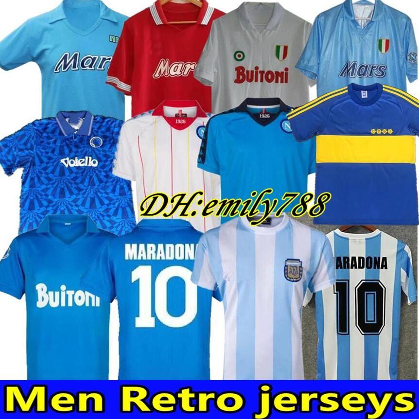 Comemorar Maradona Retro Napoli Napoles Boca Juniors Maradona Jersey 1978 1981 87 Argentina Vintage Camisa de futebol Kit Classic