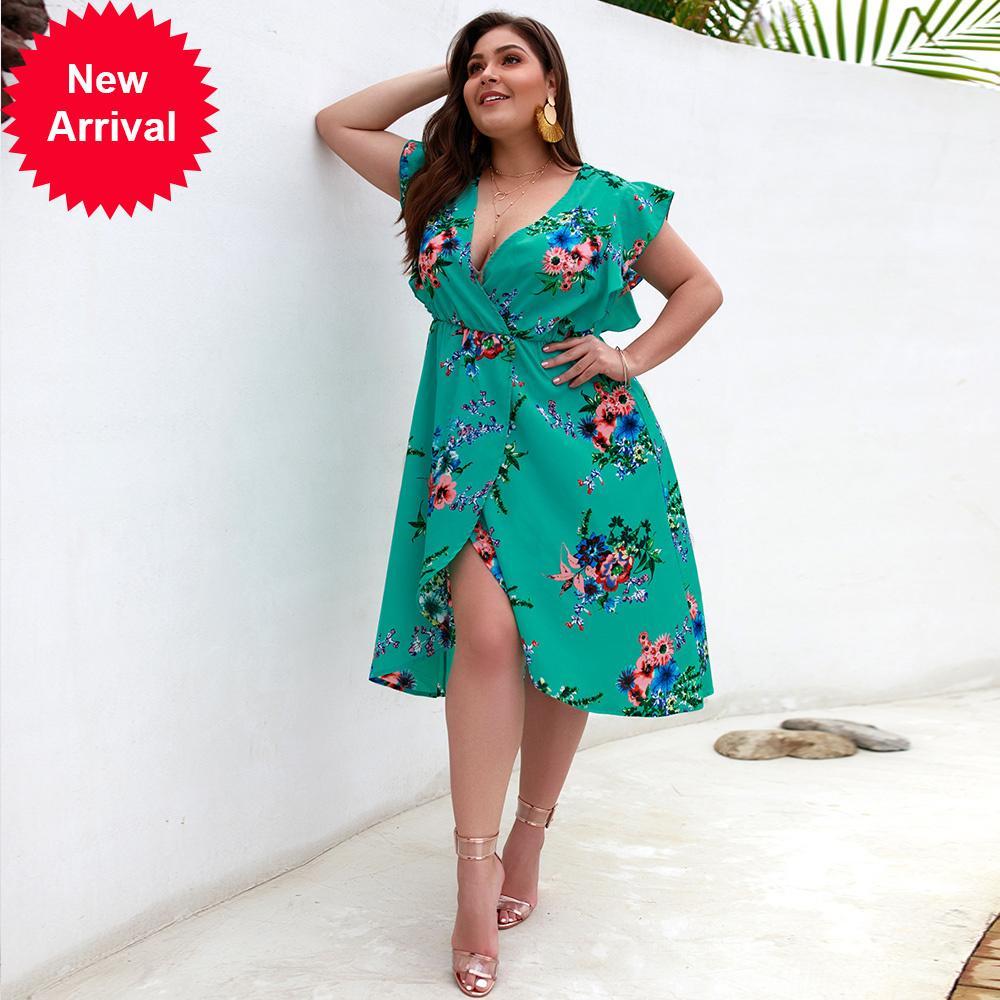 2020 Sexy Plus Size Women's Summer Fashion Bohemian Floral Print Sleeveless V-neck Lace Asymmetric Beach Party Dress