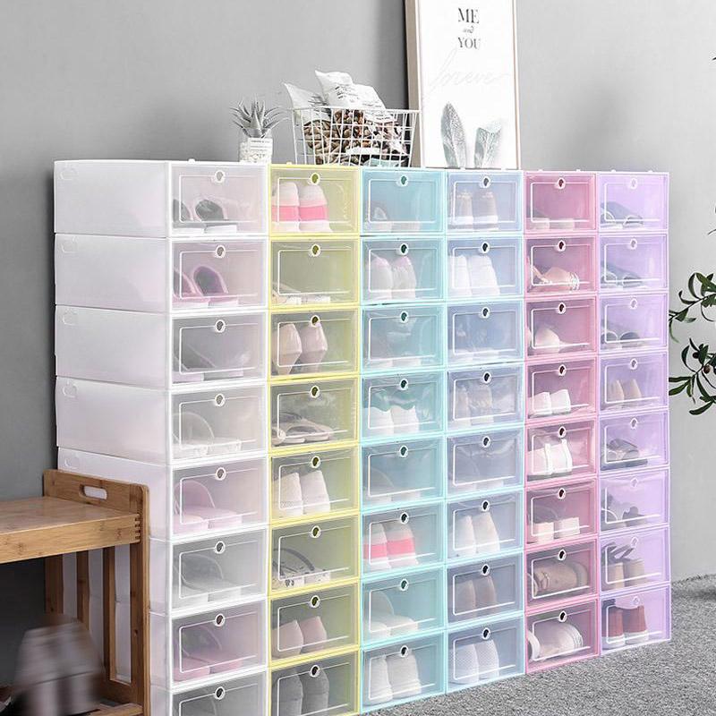 20 قطع صناديق الأحذية مجموعة متعدد الألوان طوي تخزين البلاستيك واضح المنزل الحذاء الرف المنظم مكدس عرض مربع
