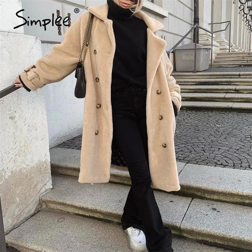 Simplee элегантные сплошные двубортные волосатые женщины меховые пальто V-образным вырезом пояса длинное пальто офис мягкая зима теплая длинная куртка дамы 201214