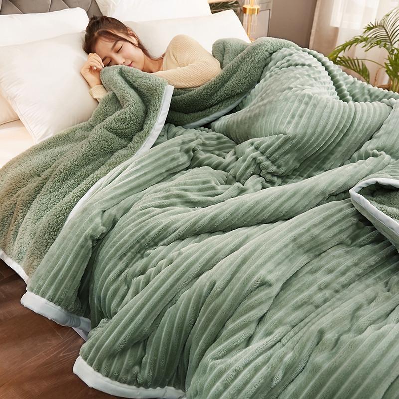 Battaniyeler Süper Yumuşak Battaniye Sıcak Kışlık Yatak Örtüsü Saf Renk Çizgili RR78 #