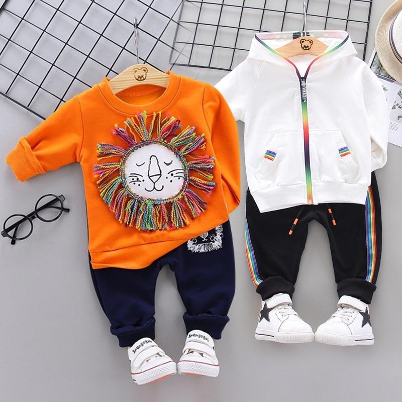 Fashion Spring Осень Осень Мальчики Девушки Хлопок Спортивные Установить Куртка + Брюки 2 Шт. / Наборы Мальчики Cousssuit Детская одежда набор одежды Baby Set 201126