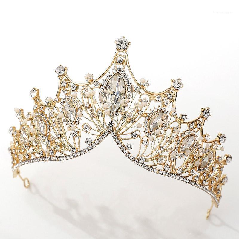 Haarklammern Barrettes ACRDDK Handgemachte Strass Kristall Tiara Gold Farbe Hochzeit Krone Für Frauen Braut Stirnband Schmuck Zubehör SL1