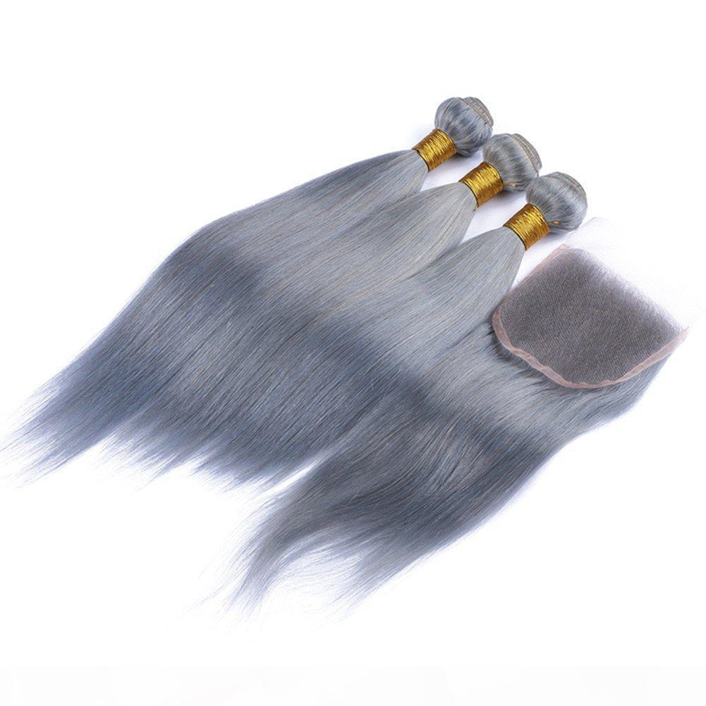 Capelli puri capelli grigi 3 pacchi con 4x4 pizzo chiusura top chiusura 4pcs lotto calda vendita sliver grigio set di capelli vergini vergini vergini vergini