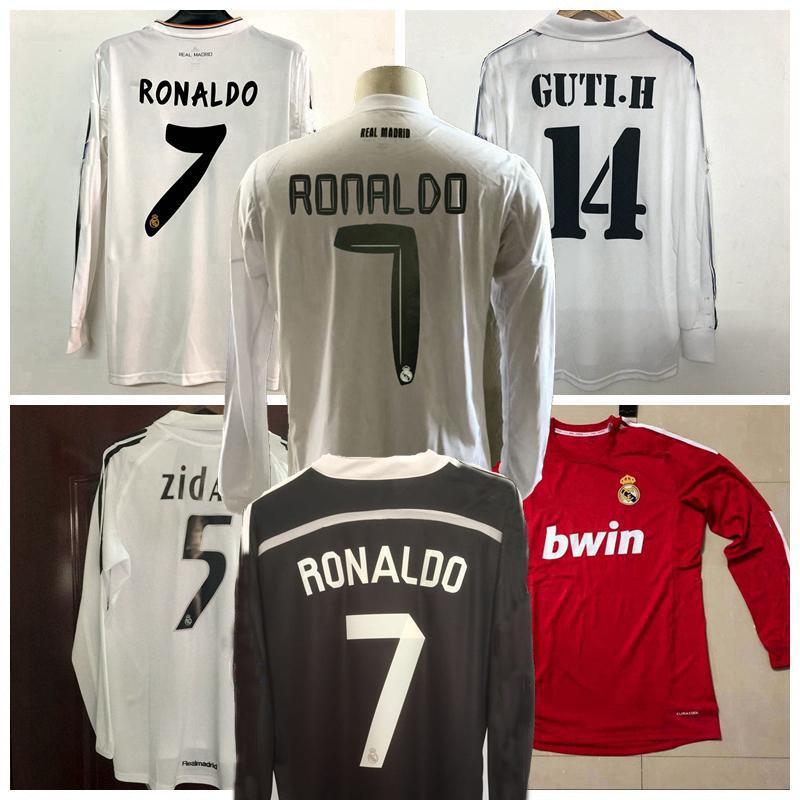 Retro clássico Real Madrid Manga Longa Futebol Jerseys Zidane Raul Kaka 2001 2002 05 06 2010 11 12 13 14 15 16 17 Futebol retrô