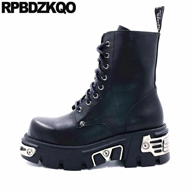 Botas de tacón alto zapatos de mujer enredaderas de forma plana combate demonio cuña plataforma gótica punk muffin metal tobillo harajuku