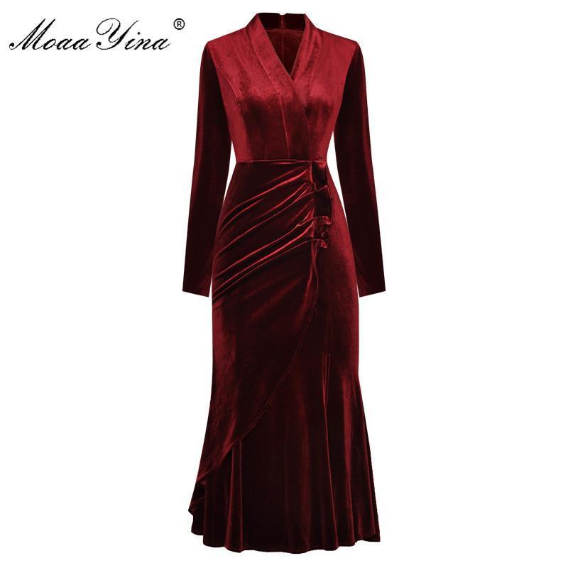 MOAAYINA Moda Tasarımcısı Elbise Bahar kadın Elbise Uzun Kollu V Yaka Dantelli Ruffles Kadife Paketi Kalça Elbiseler