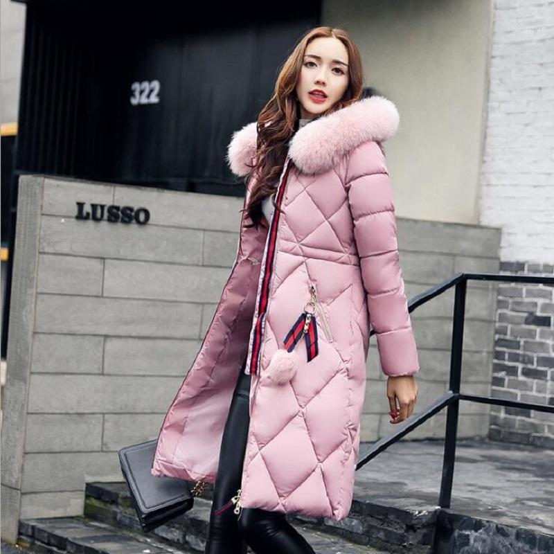 2017 Winter Women Hooded Coat Fur Collar Thicken Warm Long Jackets women's coat girls long slim big fur jacket Down Parka1