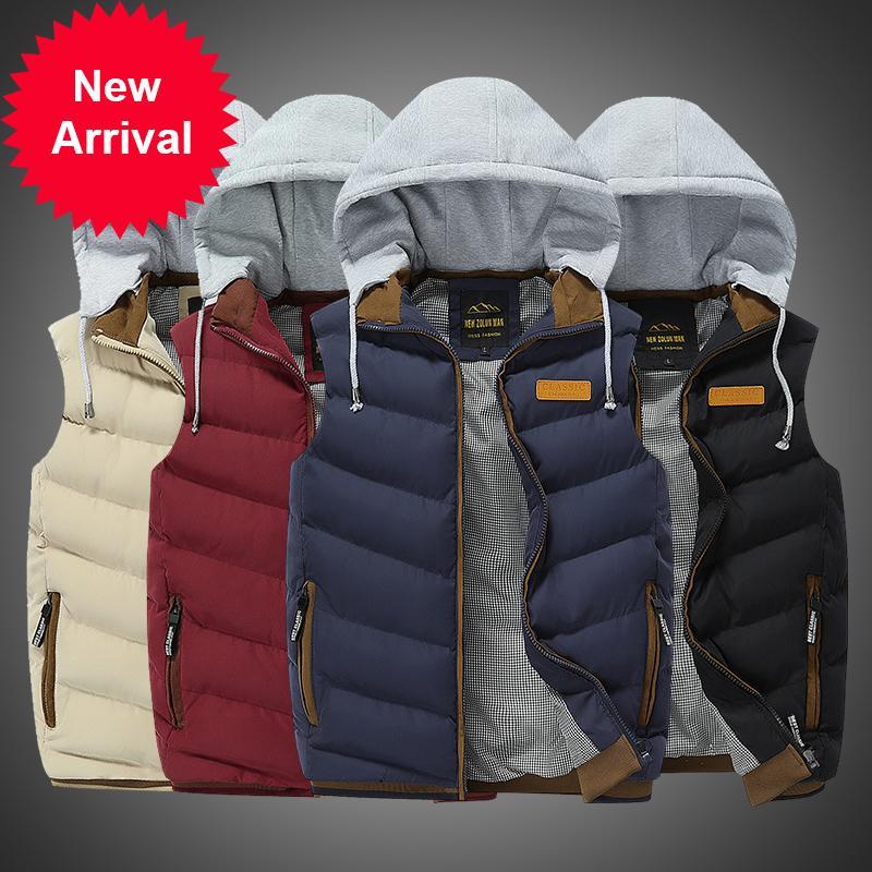 Nuove giacche degli uomini senza spalline 2020 caldo inverno con cappuccio omime addensare hombre gilet