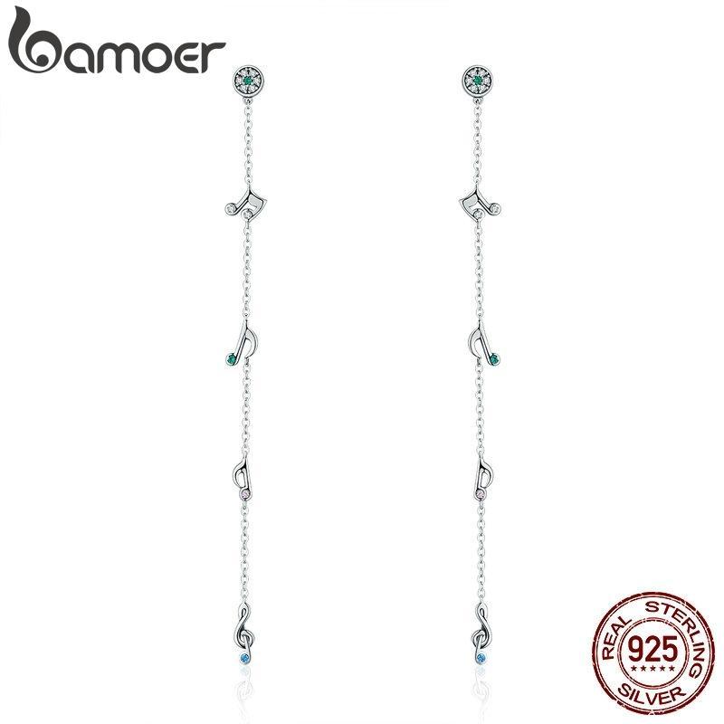 Bamoer Heißer Verkauf 100% 925 Sterling Silber Schwankungen Noten Langer Tropfen Ohrringe Für Frauen Sterling Silber Ohrringe Schmuck SCE202 Y1130