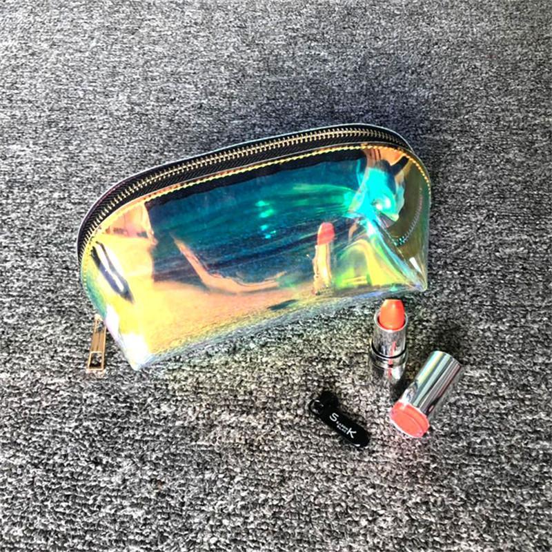 Женщины Case Cosmetic 1 Шт. Сделать ПВХ прозрачный леди Jelly Laser Beauty Beasage Организатор Женский Макияж Чехол FDTBM