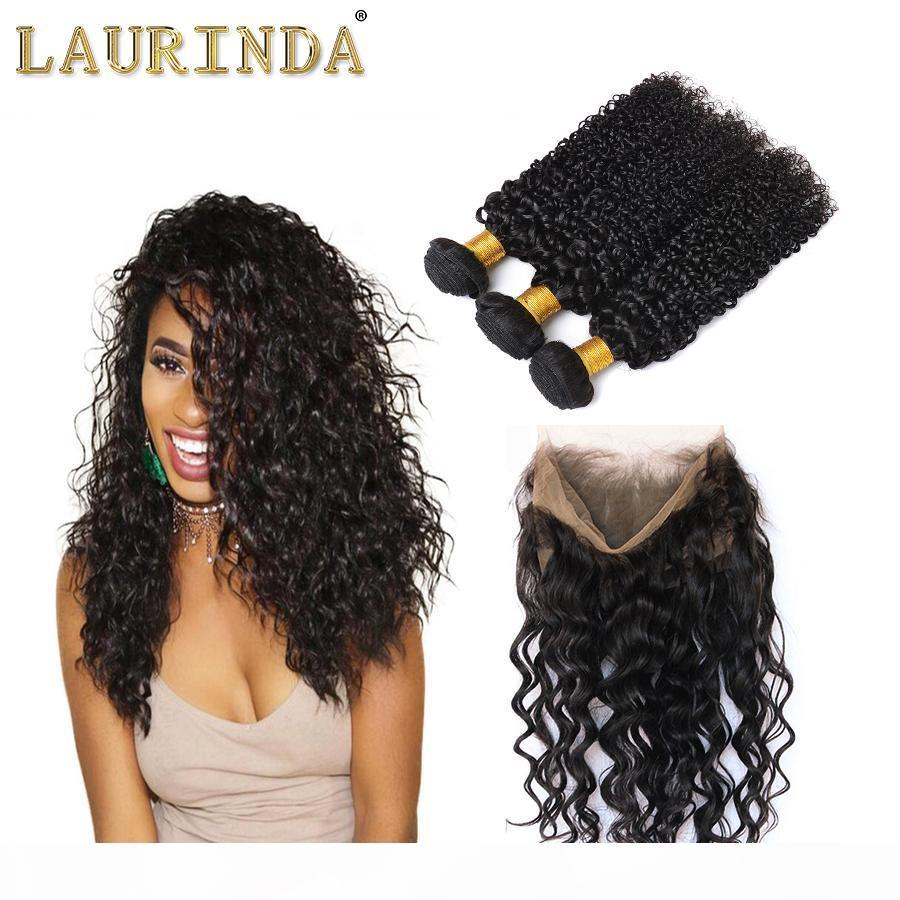 Бразильские девственные волосы 3 пакета с закрытием Кудрявая волна Бразильские вьющиеся волосы плетения с закрытием Бразильские вьющиеся волны.