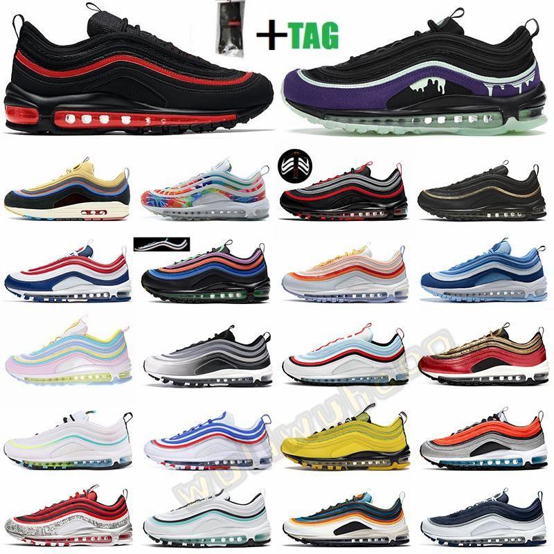 Sean Wotherspoon 97 Hommes Running Shoes 97S Bred World Wide Tie Triplement Triple Noir Blanc Blanc Femmes Femmes Hommes Baskets de sport