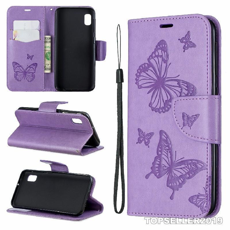 Для Samsung A10E Стенд Дизайн Стиль Стиль Кожаный Дизайнер Тиснение Две Бабочка Чехол Телефон Сумка Чехол Телефон Чехол и Держатель карты B255