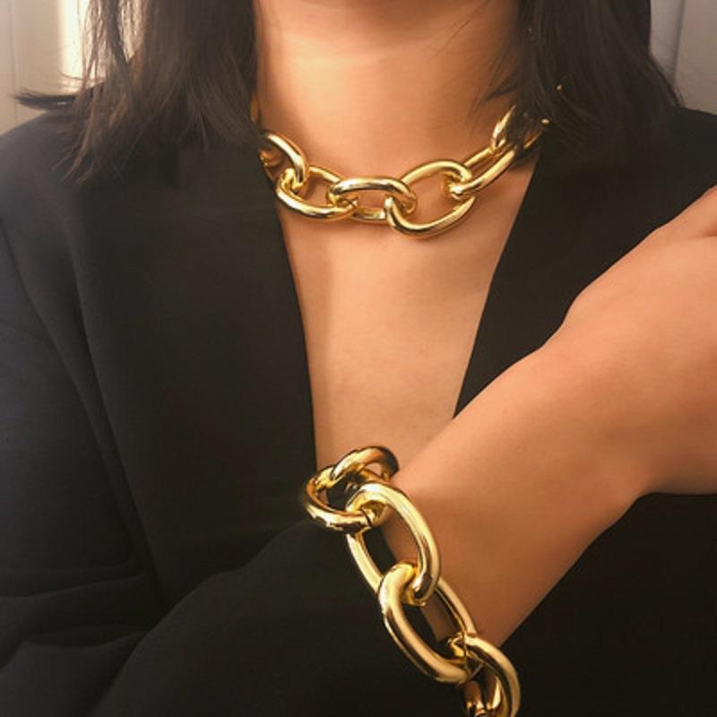 Cadeiras de Cadeia grossa Cubana exagerada para mulheres Moda Vintage Jewelry Declaração Colar Collier Feminino Acessórios 28 N2