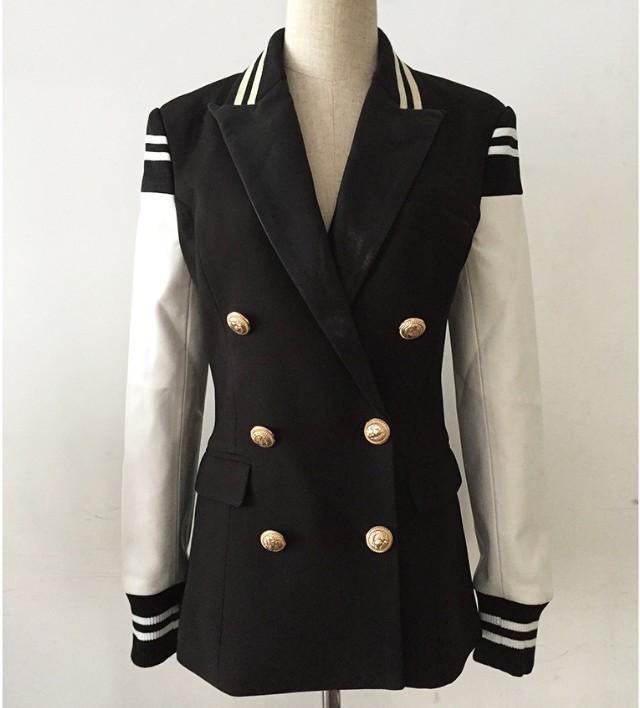 2020 tasti del metallo di cuoio di cucitura del vestito giacca a doppio petto di Primavera Donna Autunno a maniche lunghe Blazer Outwear per Lady