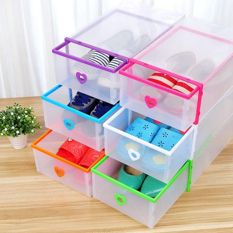 Schubladentyp Transparente Schuhkasten Verdickung Kunststoffverpackung Stapelbare faltbare Kostengünstige Rechteckbins