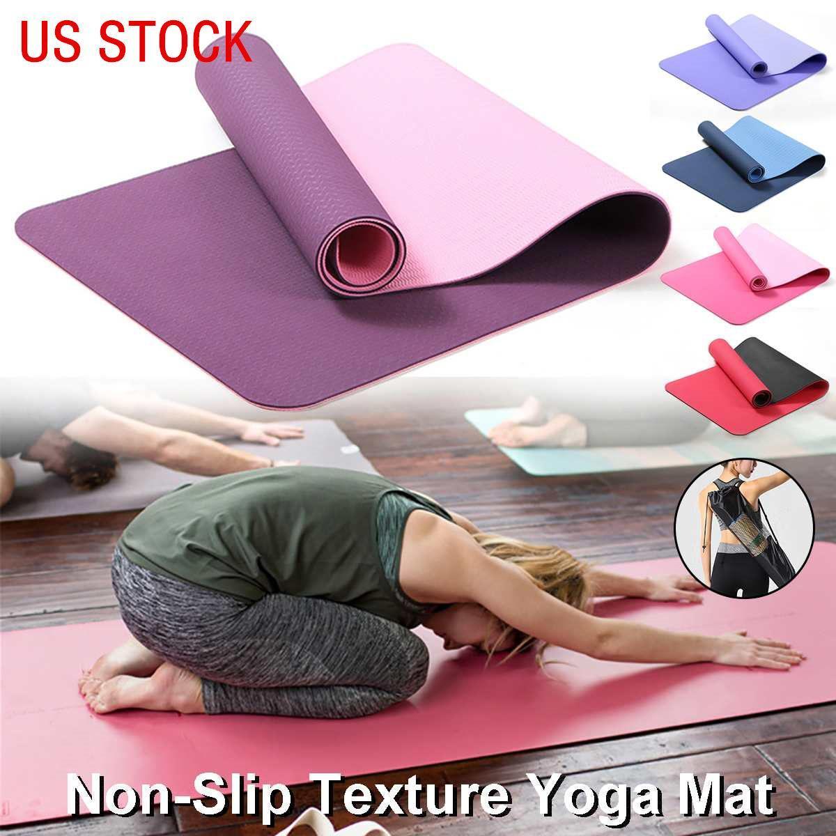 US STOCK 10 mm d'épaisseur tapis de yoga pour débutants Yoga Sport Exercices Salle de fitness Intérieur Extérieur Fitness Tapis enfants Danse Tapis avec sac Carring FY6170