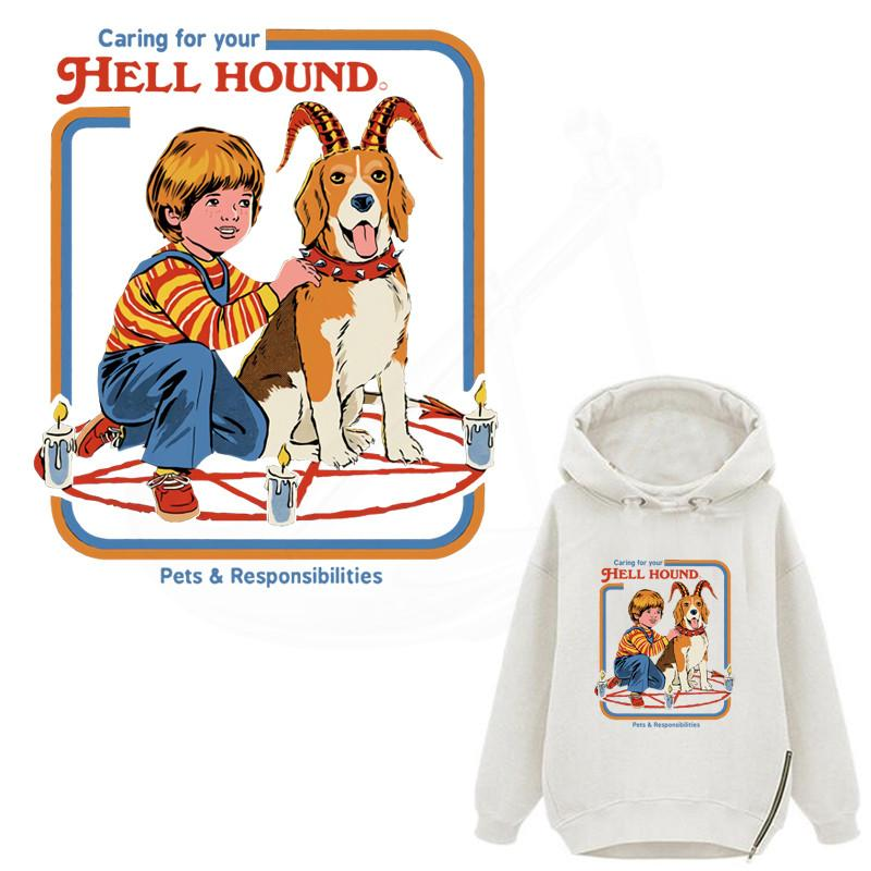 Funny Demon Dog Patches For Clothing DIY Children t-shirt iron on patches Sweatshirt patches for jackets Vinyl sticker