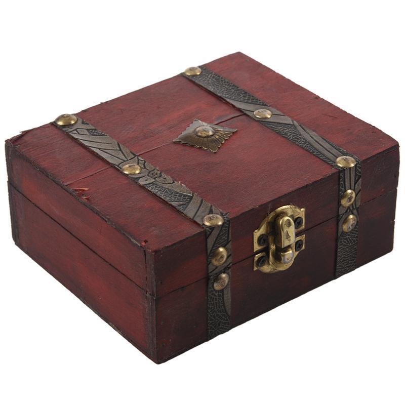 Деревянный Винтаж Блокировка Сокровище Сундук Груз Ювелирные изделия Ящик для хранения Чехол Организатор Кольцо подарка