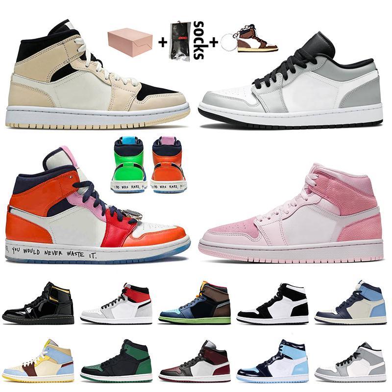 Nike Air Jordan 1 1s Jordan Retro 1 Off White Kutu Orta GS Pembe Kuvars Jumpman 1 Basketbol Ayakkabı Korkusuz Açık Gri Gölge Kadınlar Erkek Sneakers
