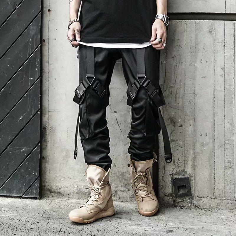 Hip-hop Jogger Men Black Harem Multi-pocket Locomotive Boy Sports Pants Streetwear Casual Men's Overal Direct Mail