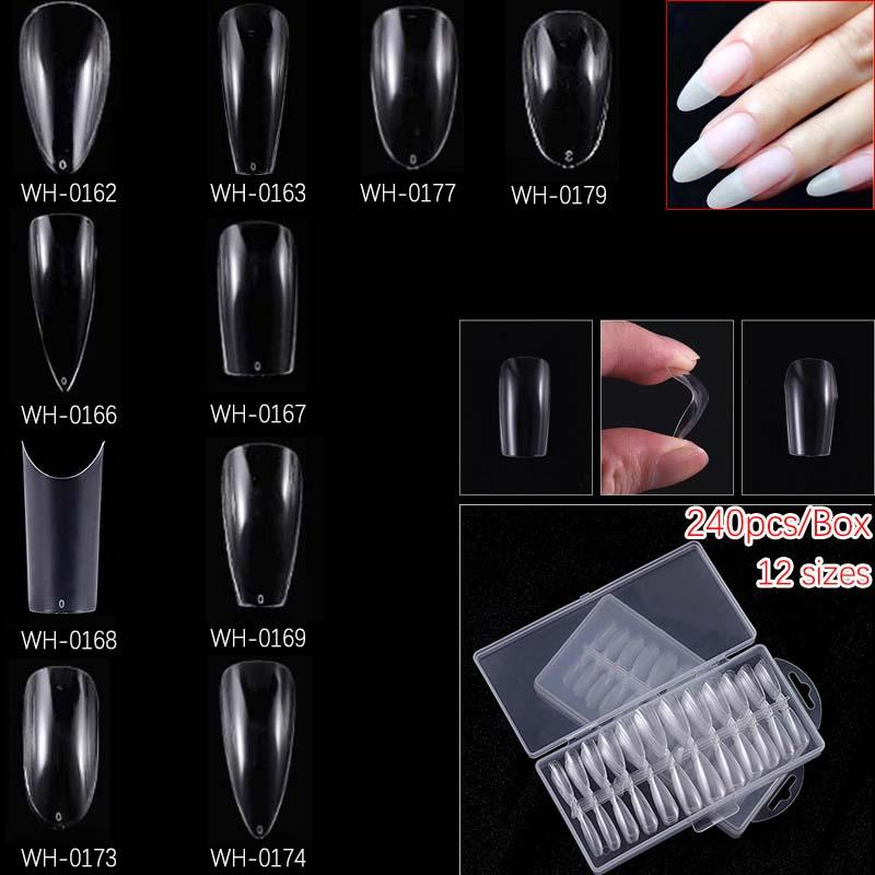 240Pcs/Box Various Styles Dual Nail Art System Form Uv Gel Acrylic False Tips Nail Salon Tools Water drop Coffin Ballerina shape
