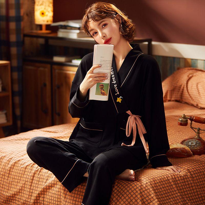 Melifett Sonbahar Atoff Ev Kimono Kadınlar Pijama Setleri Pamuk Uzun Kollu Yumuşak Pijama Karikatür Baskı V Yaka Yukata Kawaii Nightie W1225