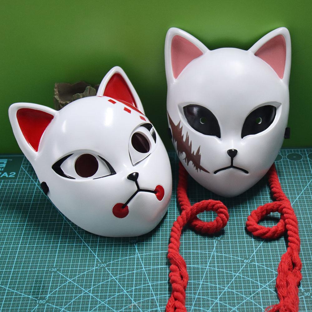 Anime Sabito Kamado Tanjiroou Смола маска косплей демон Slayer Kimetsu нет Yaiba Halloween Party Costume коллекция реквизиты Deluxe Y1127