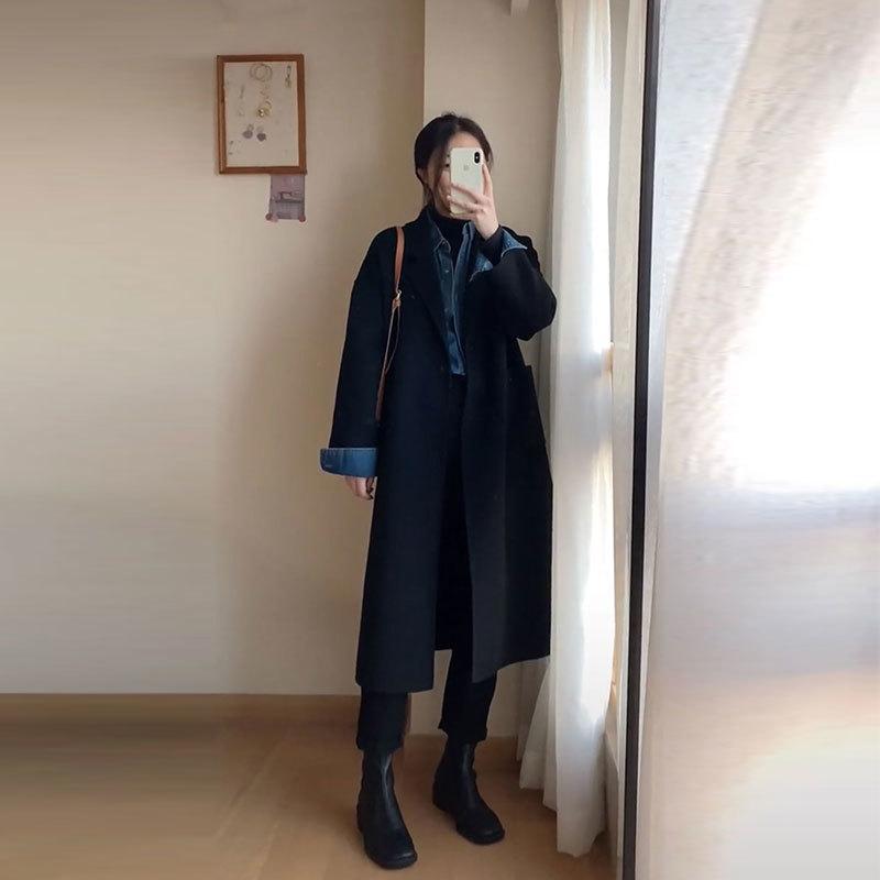 Laine 2020 hiver NOUVELLE HEPBURN Style de style Casual Fashion One Bouton Moyen Longueur Noir