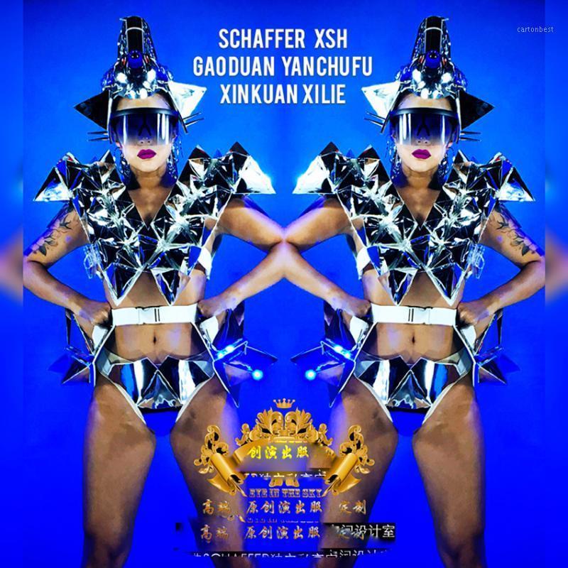 Nightclub Gogo Mulheres Espelho Metal Triângulo LED Future Technology Technology Show Space Star Armor Robot Roupas de dança1