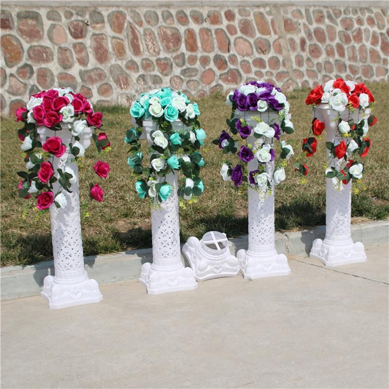 Copa de decoração de casamento de alto padrão coluna branca romana com bouquet de flor rosa para festa evento suprimentos frete grátis