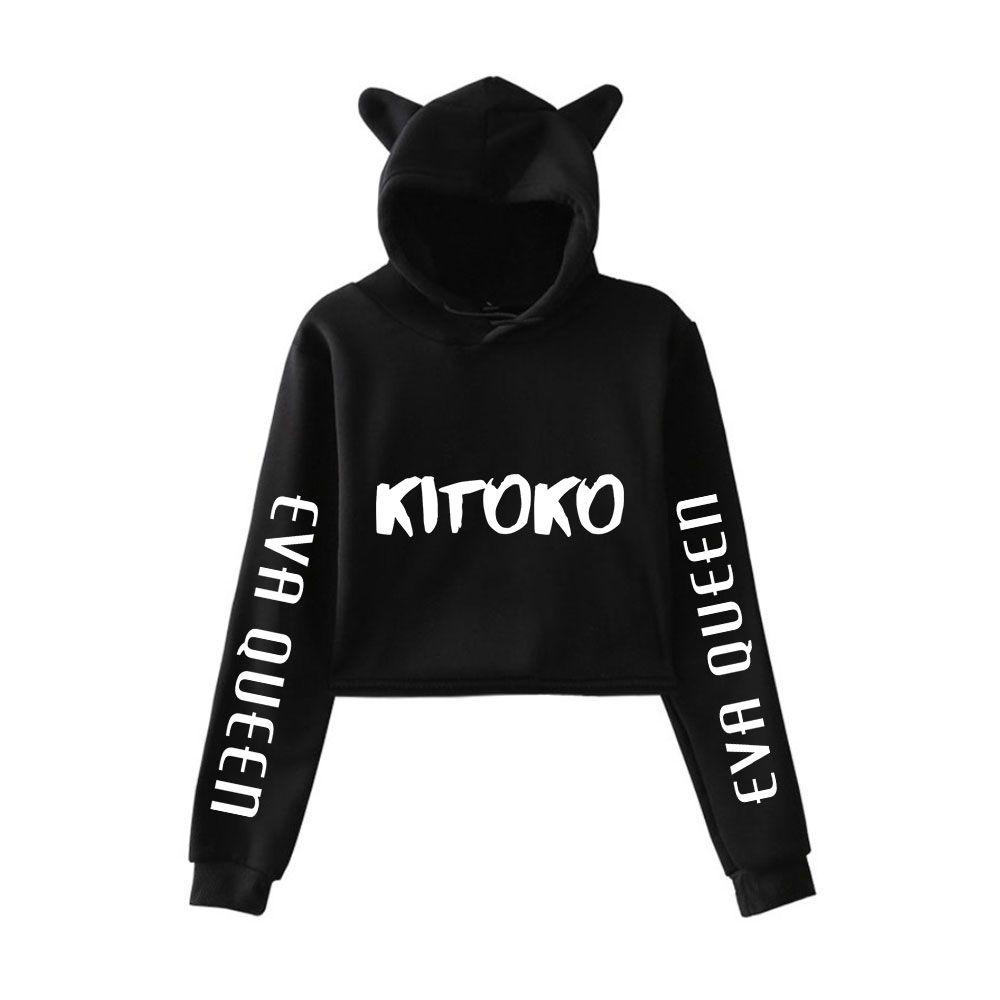 Nouveau Pullover Girl Casual Cat Cropped Sweats à capuche femelle à manches longues Sweatshirts Crop Tops Sweat à capuche Eva Queen Sweat à capuche