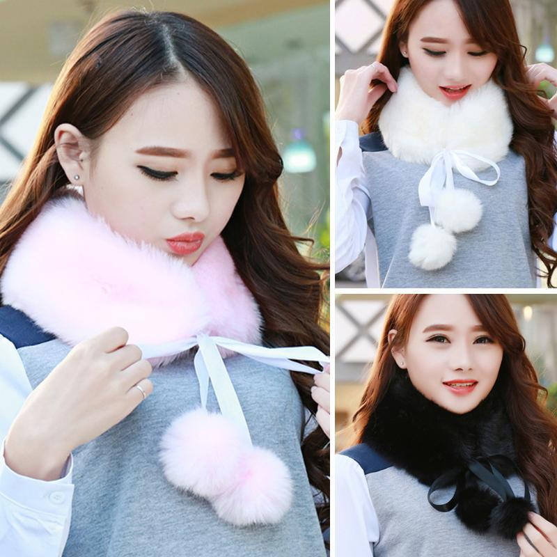 Autumn Winter Faux Fur Warm Long Scarf Collar 2020 Women Faux Fur Shawl Cap Scarves