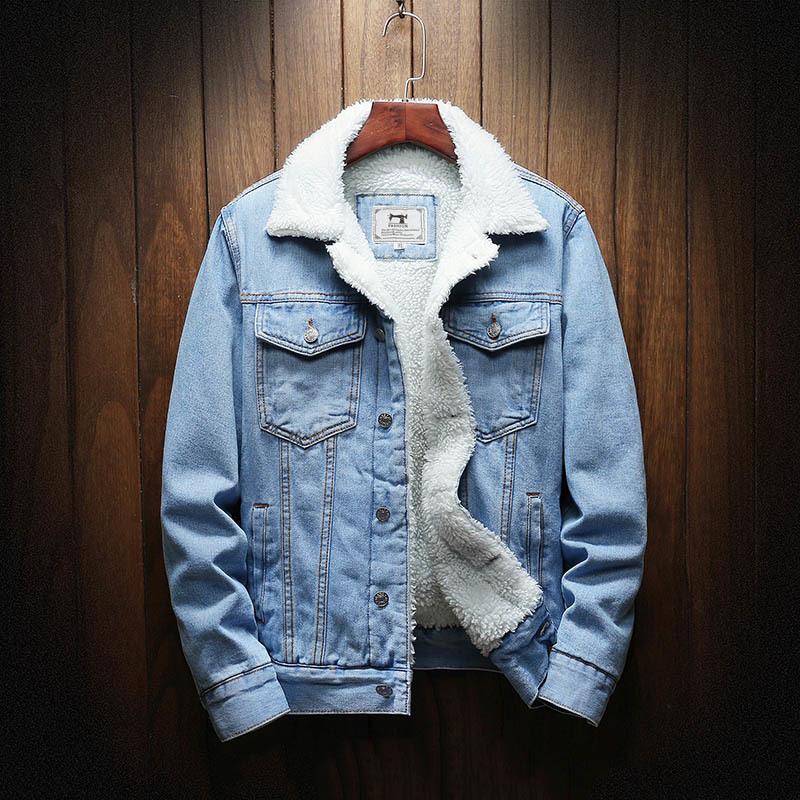Jean Outerwear Couvertures Chaudes Nouveaux Hommes Grands Vestes de denim en hiver plus épais plus Taille XS-6XL