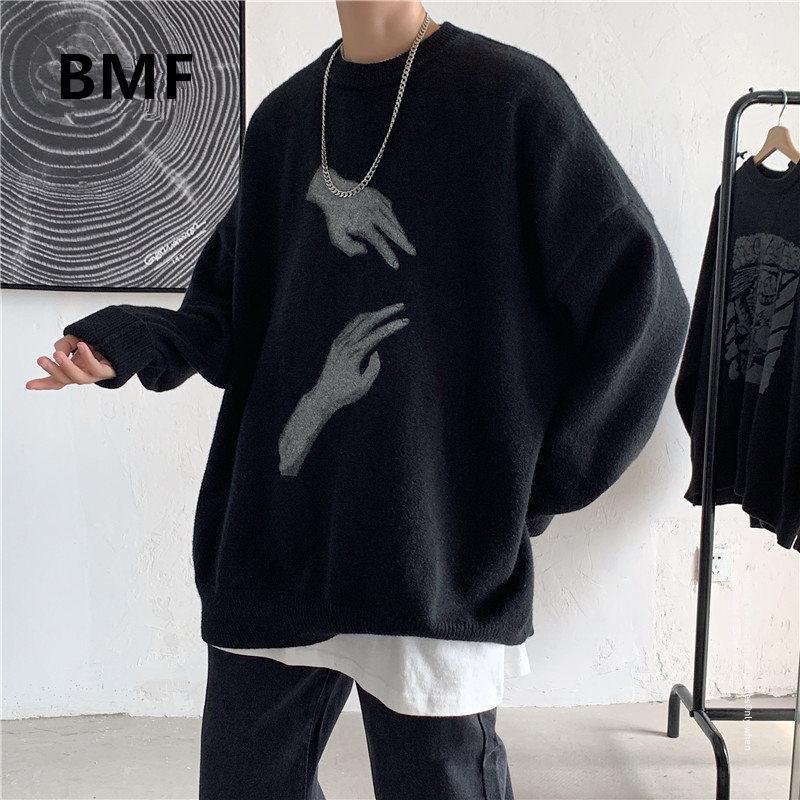 Suéter dos homens outono inverno moda coreana solta camisola de impressão kpop ulzzang roupas roupas 2021 streetwear hip hop pulôver homens roupas
