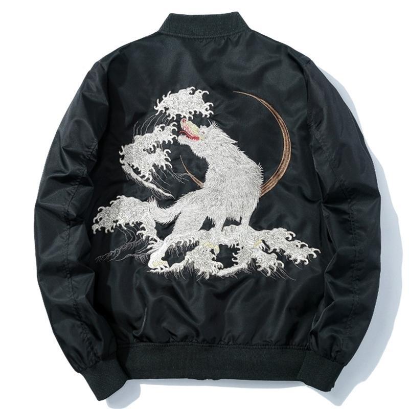 Bombardeiro inverno homens grossos bordados lobo piloto jaquetas harajuku casual jaqueta de beisebol preto japão jovem streetwear masculino y201026