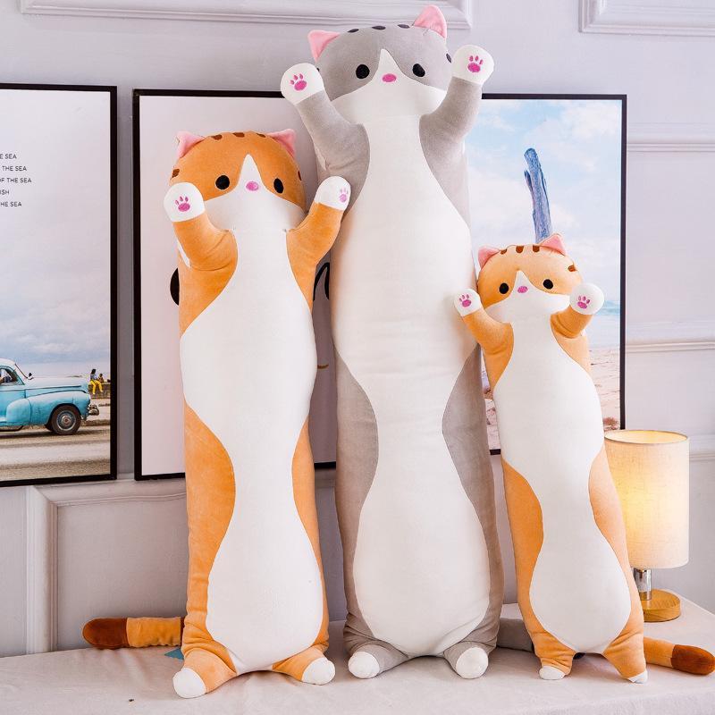 Simanfei Cute Cat Pillow Stuffed Plush Toy Dolls Dakimakura Decorative Back Cushions Backrest Travel Throw Body Pillow Bed Car T200603