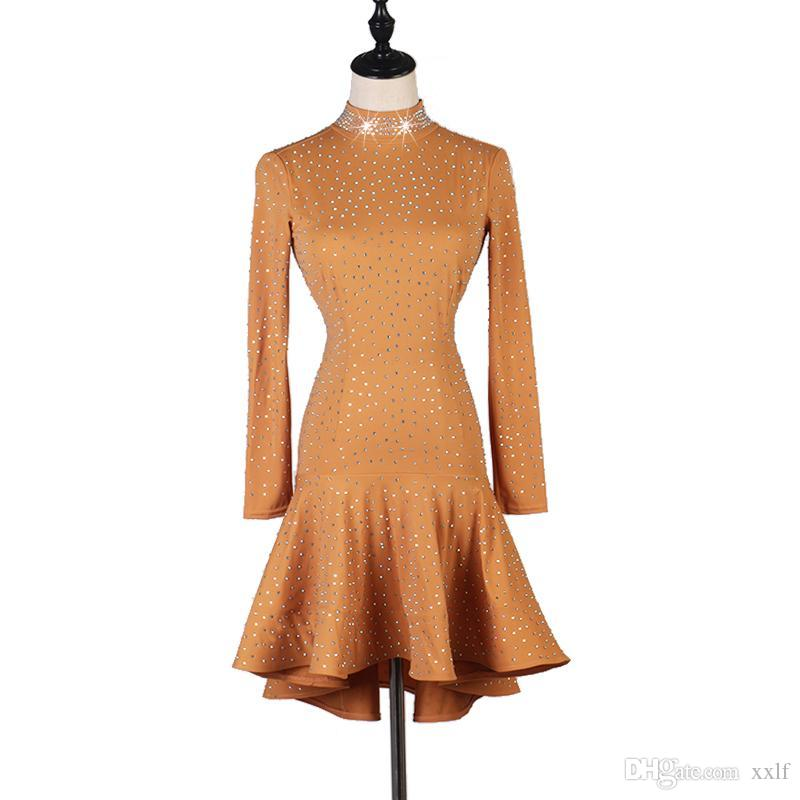 High File Full Bohrer Lading Dance Performance Match dienen Erwachsene Hohe Bleidepappe Zurück Rumba Nur Kleid