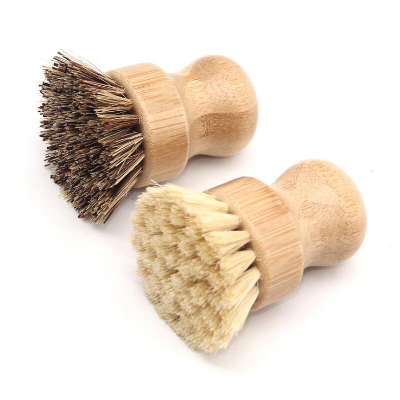 Runde hölzerne Bürstengriff Pot Teller Haushalt Sisal Palm Bambus Küchenhändler reiben Reinigungsbürsten BWD2823